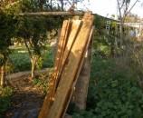 עצים שפורקו מהשירותים הקודמים שהיו במקום