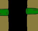הצמדת שני חצאים תחתונים של שני בקבוקים אחד לשני