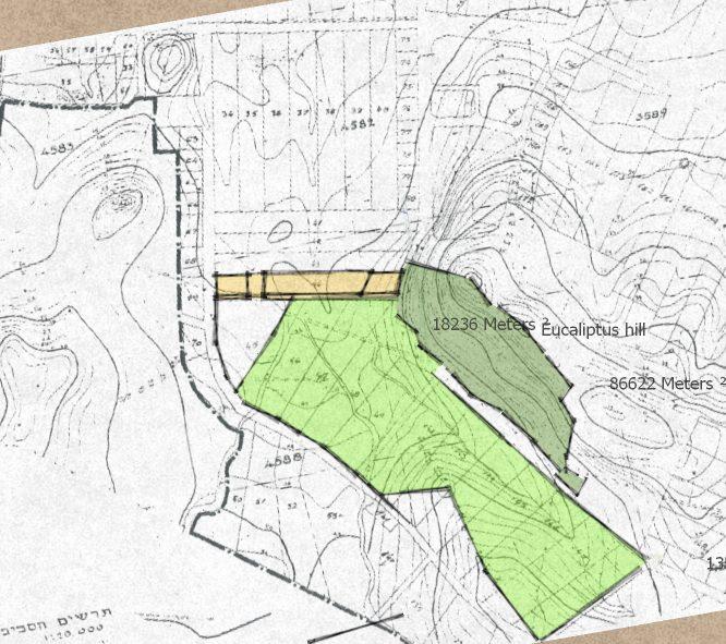 מפה טופוגרפית של סביבות השטח (השטח בכתום)