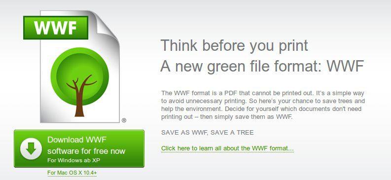 הדף הראשי של אתר הsave as WWF