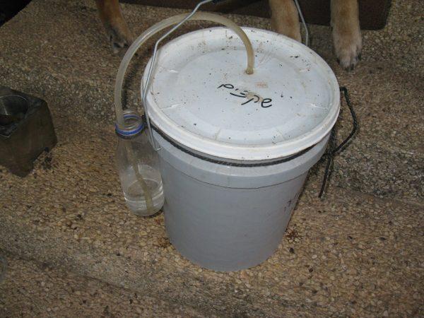 הכנסת צינורית לדלי אטום, הקצה השני בתוך מים
