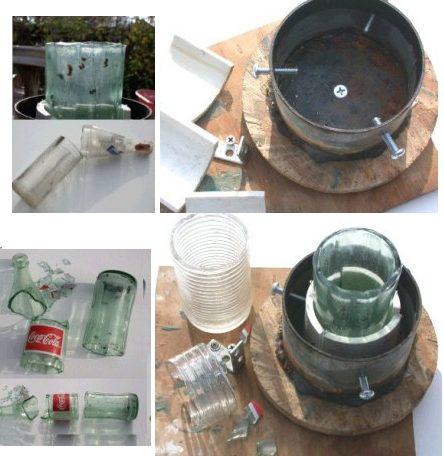 שימוש במבער לחיתוך בקבוק