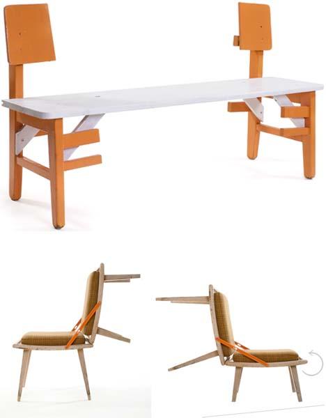 ספסל מכסא אחד וגם להתנדנד על כסא