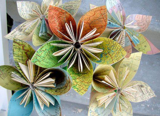 פרחים מאוריגמי מנייר בשימוש אחר