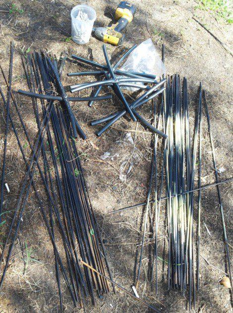 חיתוך מוטות הברזל לפי מידות וצביעתם