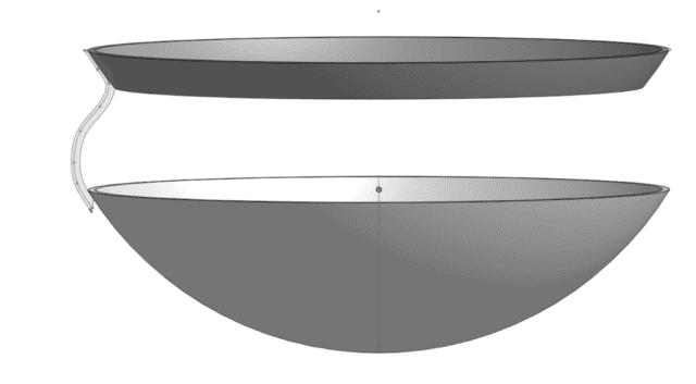 ציור הפרופיל שמחבר בין הטבעת שתתחבר לגוף המאוורר לבין מה שיחזיק את כיפת הזכוכית