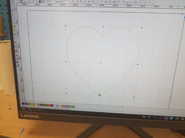 הלב בתוכנת RDWORKS גם הוא מחכה לחיתוך