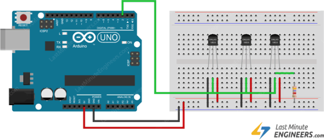 Wiring Multiple DS18B20 Temperature Sensors With Arduino