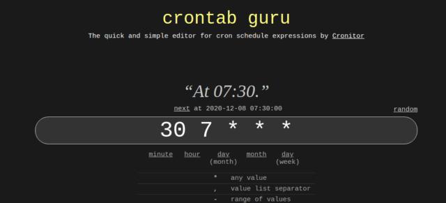 הגדרת זמן אפשרית לשעון מעורר קבוע בcrontab
