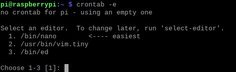 אחרי הפקודה crontab -e, בפעם הראשונה, המערכת תבקש מאיתנו ליצור קובץ חדש