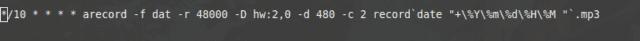 פקודת cron שמכילה בפנים את חתימת התאריך הרגעית, ללא שימוש ב shell