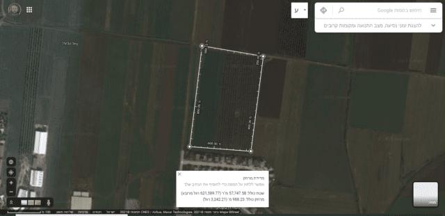 גוגל מפות - דוגמא למדידת מרחקים ושטחים ליד מושב שדה יעקב בעמק יזרעאל